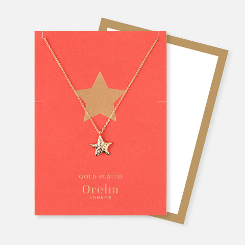 Orelia Gold Hammered Star Necklace