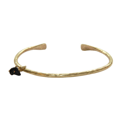 Gold plated bangle with onyx gemstone pendant