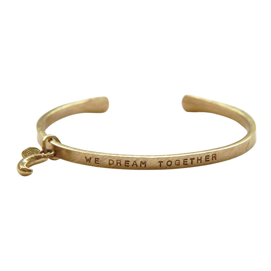 Gold plated open bangle with half moon charm