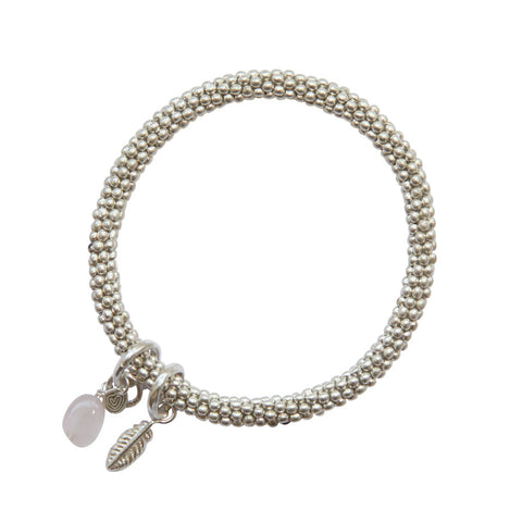 Silver Bracelet with Feather Charm and Rose Quartz