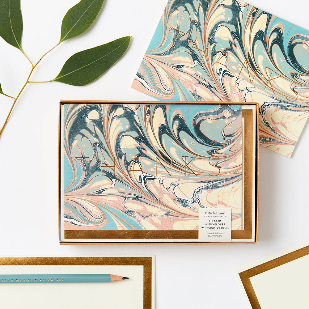 Katie Leamon - 8 Marble 'Thanks'  notecards plus envelopes