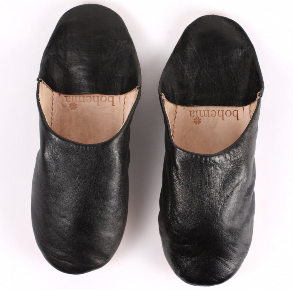 Leather slippers in 3 classic colours - medium