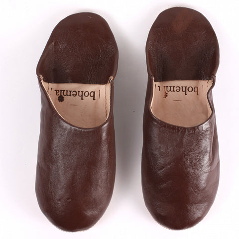 Leather slippers in 3 classic colours - large