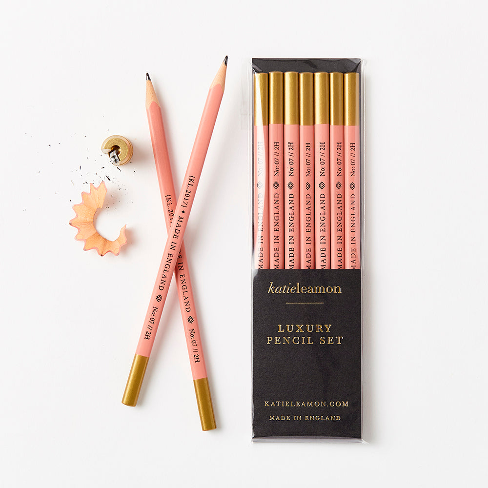 Katie Leamon - Boxed Pencil Set - pink and gold