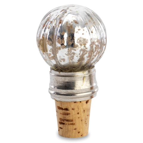 bottle stopper - Antique silver and cork