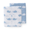 Organic muslin swaddle set - whales