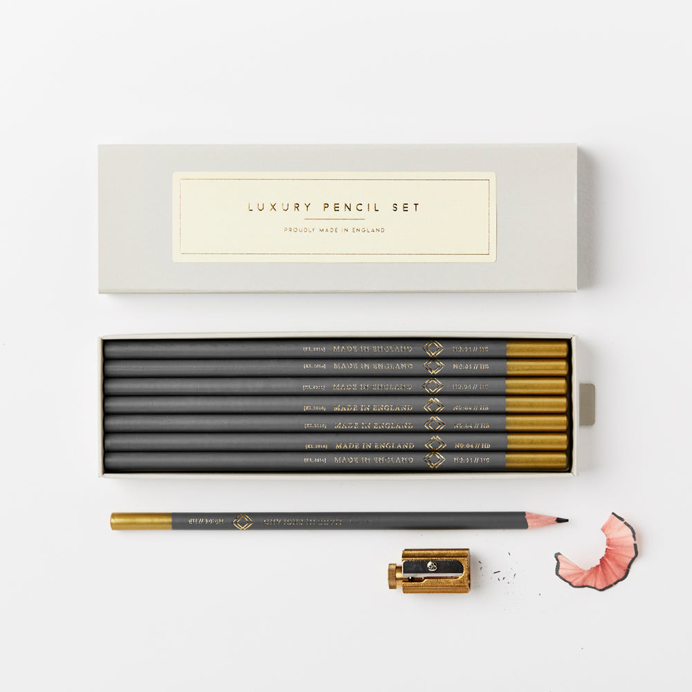 Boxed Pencil Set - grey and gold