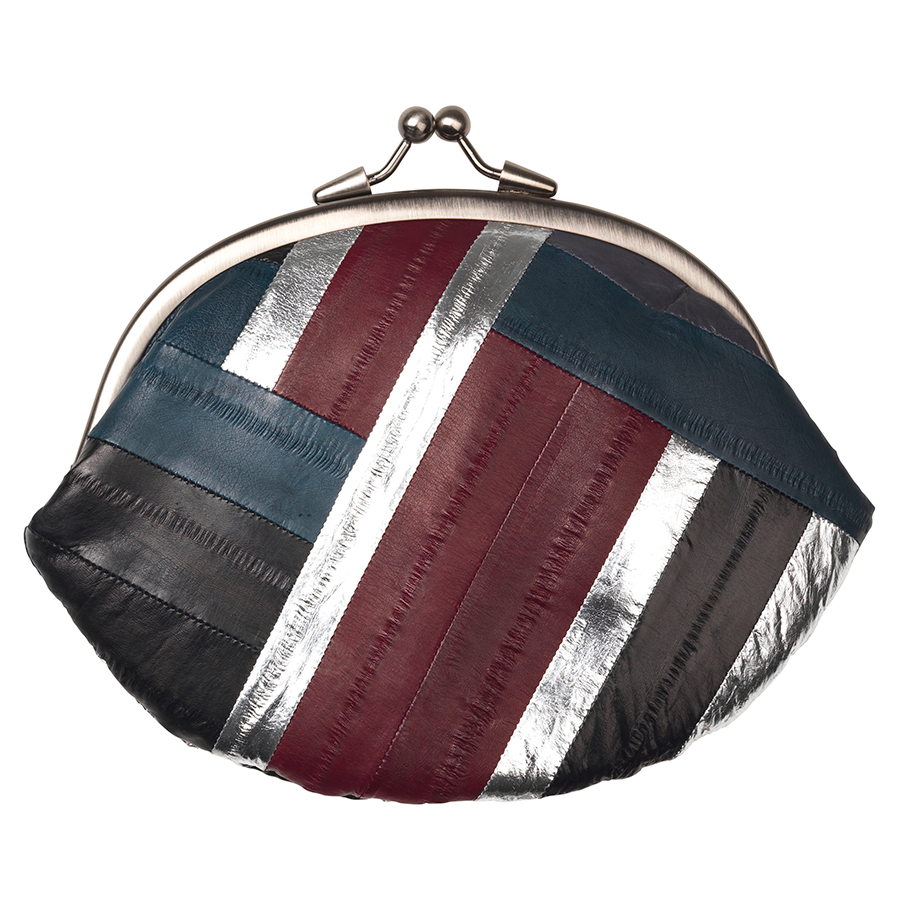 Silver, navy and berry red Granny purse by Becksondergaard