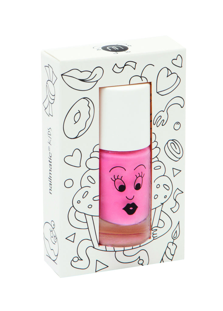 Bright Pink Water Based Nail Polish For Children.