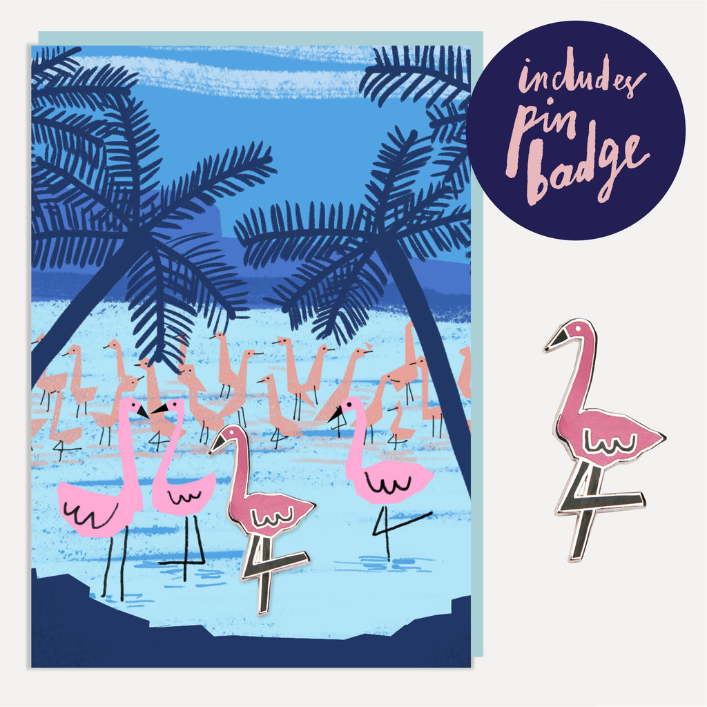 U Studio Twilight Flamingo Greeting Card