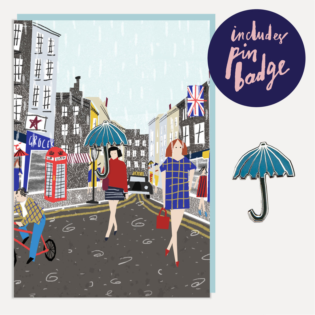 U Studio London Rain Greeting Card