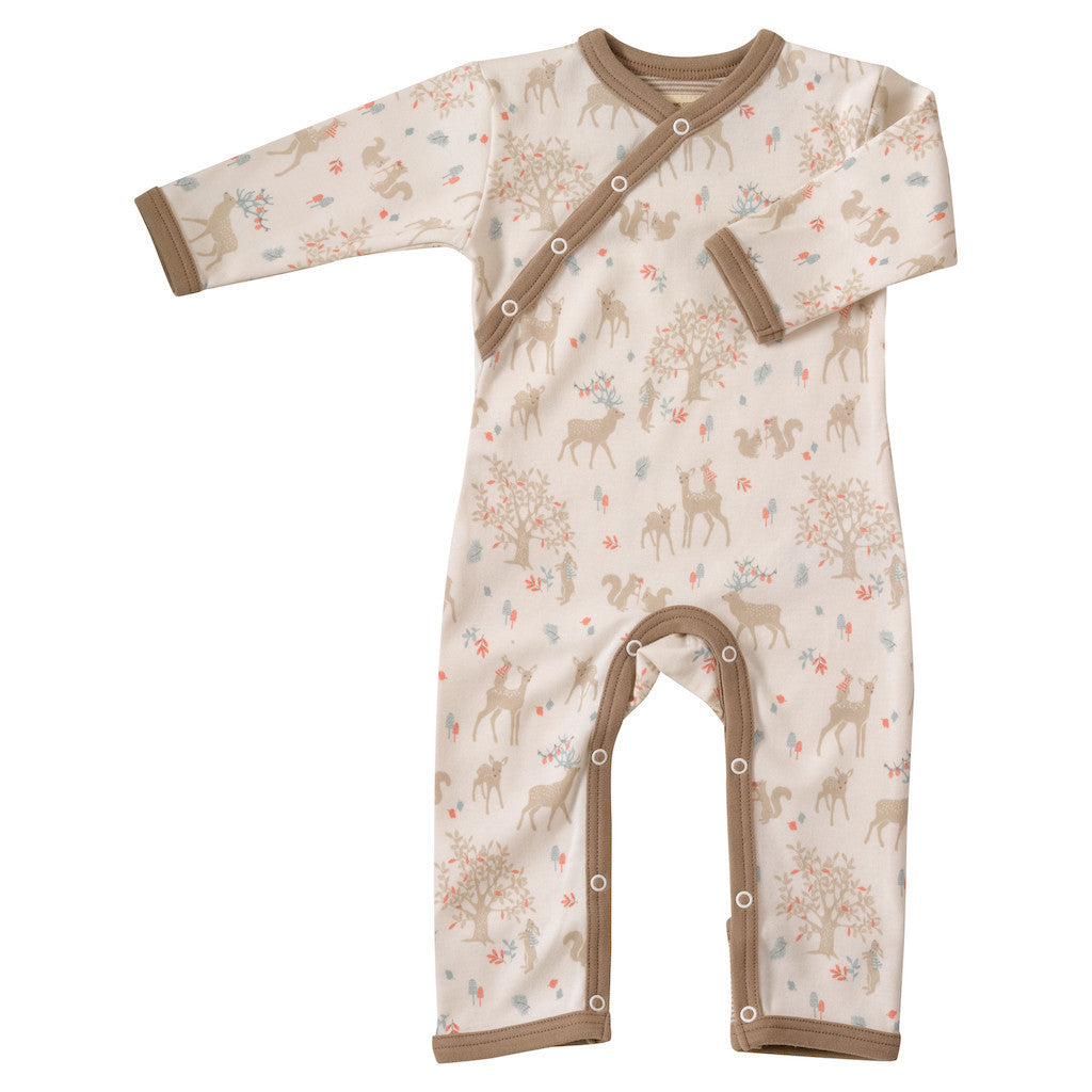 and Organic cotton romper by Pigeon in deer woodland print
