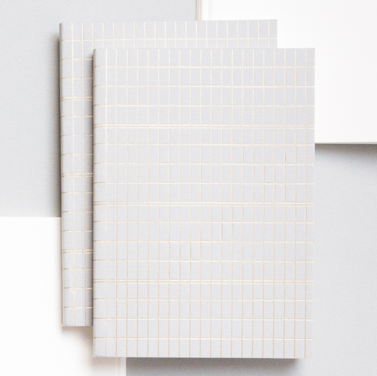 OLA Pocket Notebook Foil Blocked Brass Grid on Grey