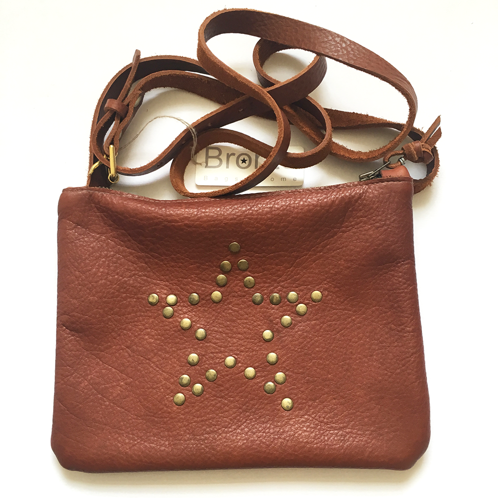 Tan leather shoulder bag with studded star