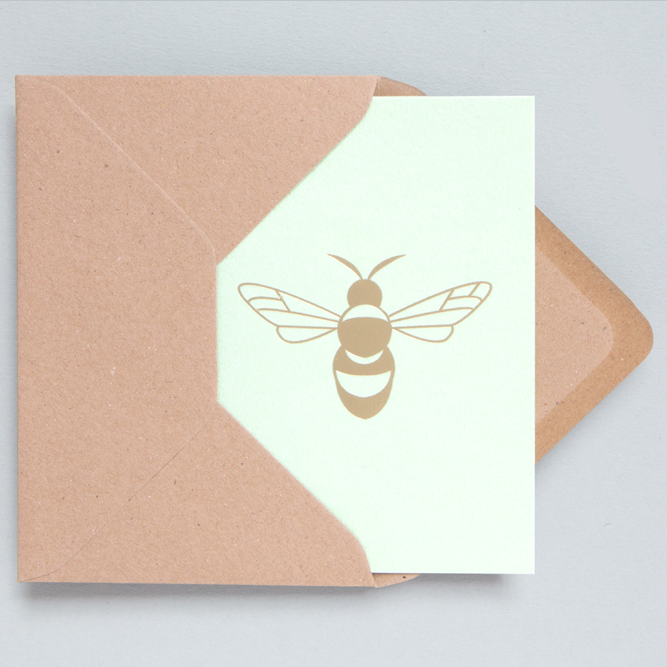 OLA Card - Brass Bee on Mint