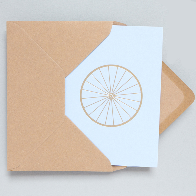 OLA Card - Brass Bicycle on Blue