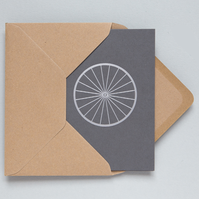 OLA Card - Silver Bicycle on Slate