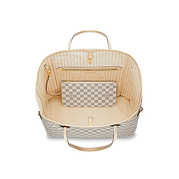 22819f88a81d Сумка Louis Vuitton NEVERFULL MM Канва Damier Azur белая большая –  lookbook.house