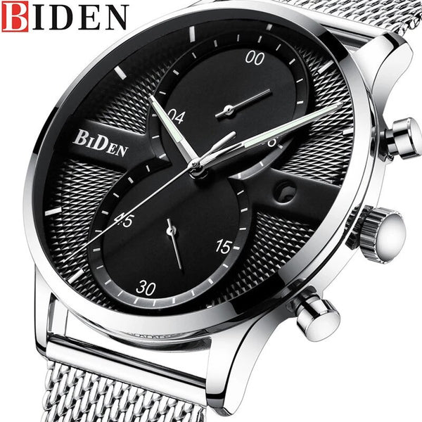 BIDEN07 Steel Mesh Band Chronograph Date Sports Watch