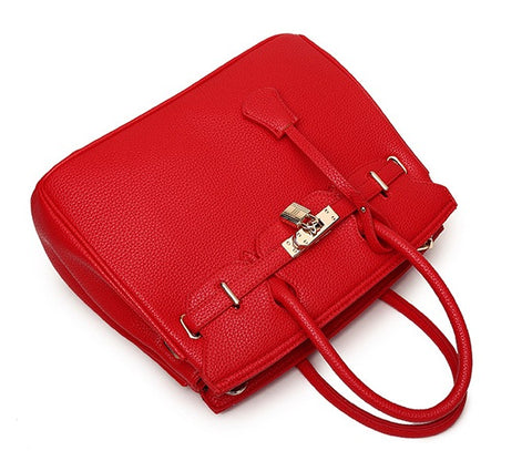 Women Leather Lock handbag
