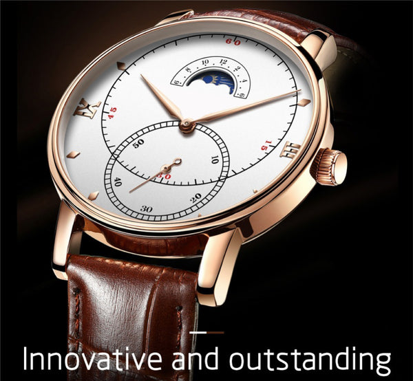 OLIVZ Multifunction Genuine Leather Men's Watch