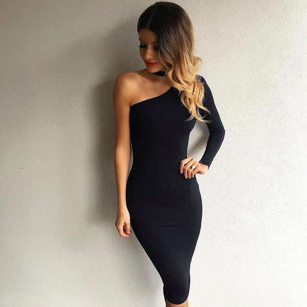 One Shoulder Choker Women Dress