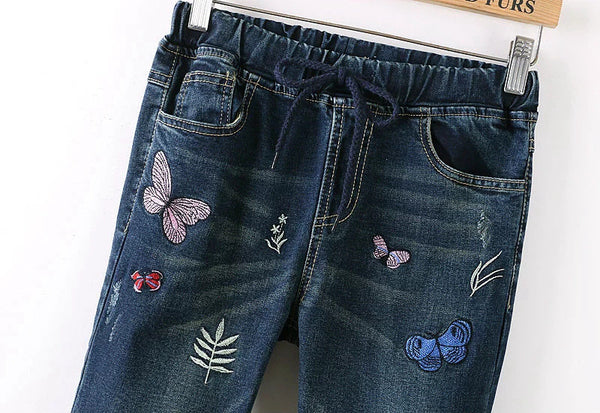 Embroiery Jeans Women Pants