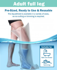 AquaShield Reusable Waterproof Plaster Cast Cover Adult Full Leg L44 - Swim, bath or shower