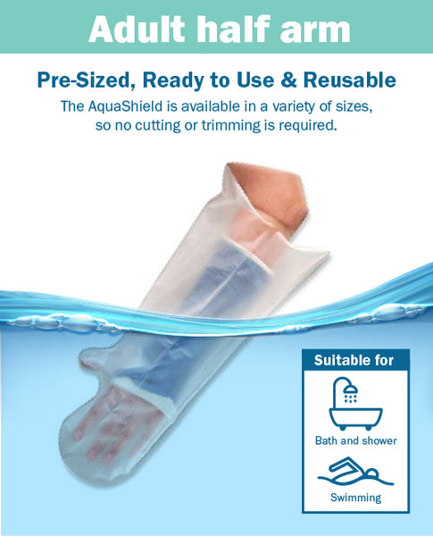 AquaShield Reusable Waterproof Plaster Cast Cover Adult Half Arm A21 - Swim, bath or shower