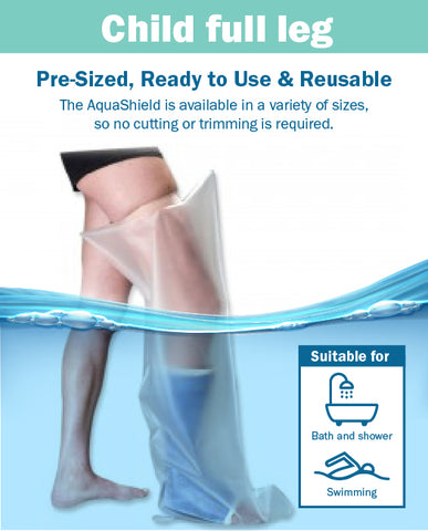 AquaShield Reusable Waterproof Plaster Cast Cover Child Full Leg L33 - Swim, bath or shower