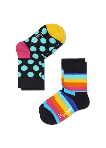 KIDS BIG DOT & STRIPE SOCKS (2 PAIRS)