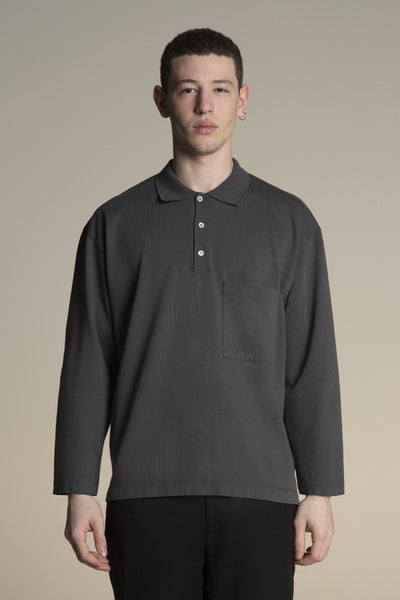 Oversized cotton Polo shirt - blue black