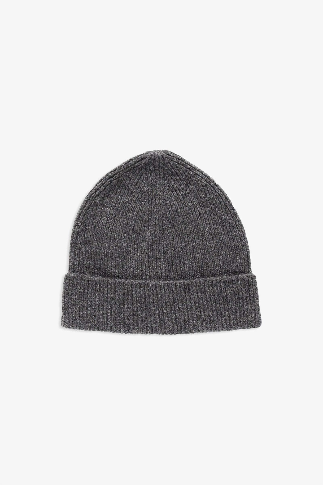 Reversible Beanie in wool - heather grey