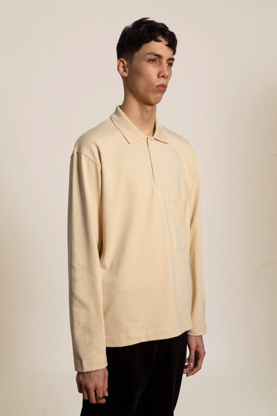 Oversized cotton Polo shirt - light beige