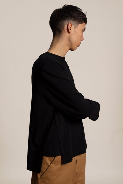Oversized side slit cotton t-shirt - black
