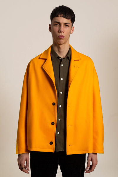 Wool cashmere short coat - yellow