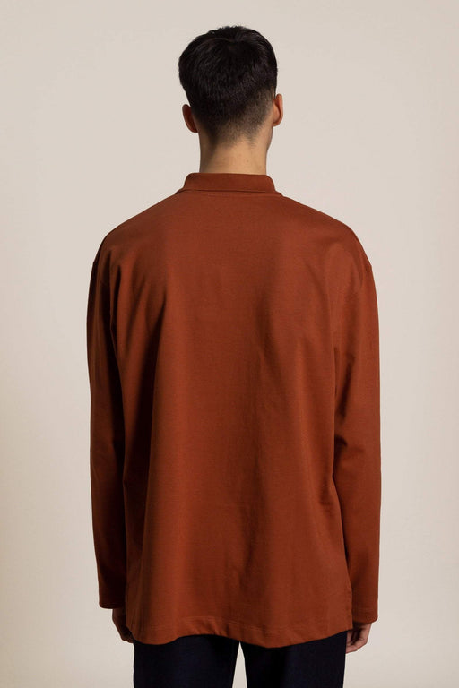 Oversized cotton Polo shirt - red brown