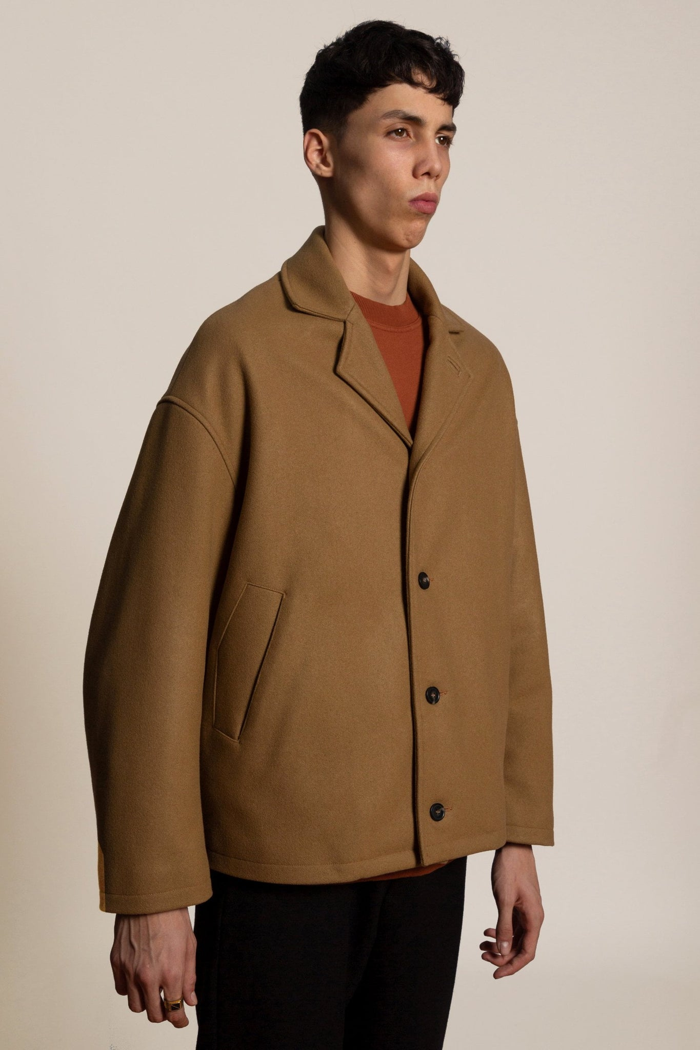 Wool cashmere short coat - camel