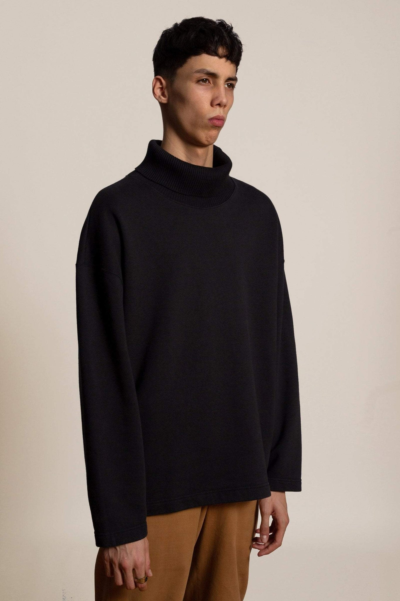 Oversized cotton turtle neck - blue black