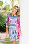 Daphne Dress Aztec Fuchsia