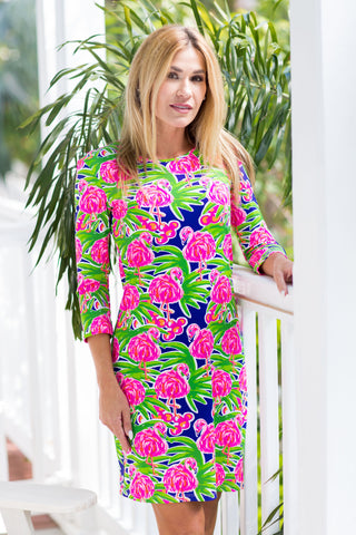 Daphne Dress Fluo Flamingos