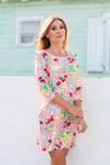 Daphne Dress Fluo Pink Garden