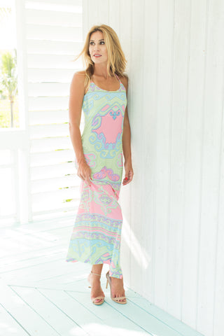 Spaghetti Dress Grecian Pastel
