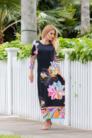 Athena Long Dress Hibiscus