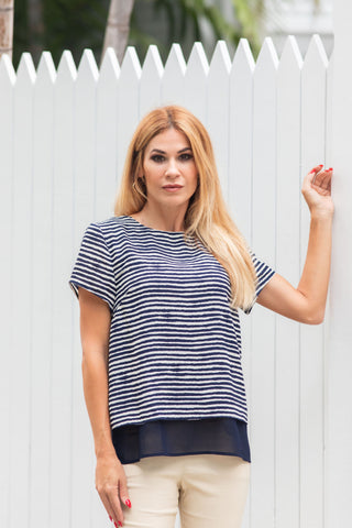 Two Tone Blouse Marine Navy