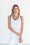 Xpresso Vneck Top White/Black