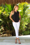 Xpresso Vneck Top Black/White