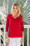 V-Neck Top Red
