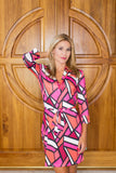 Donna Dress Broken Glass Fuchsia
