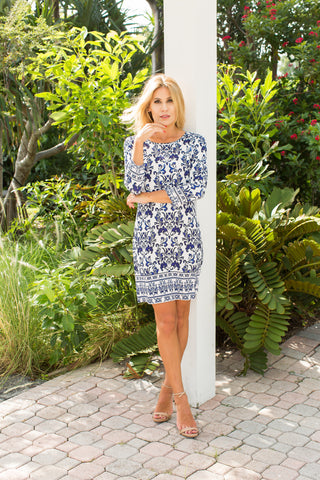 Daphne Dress Damask Indigo